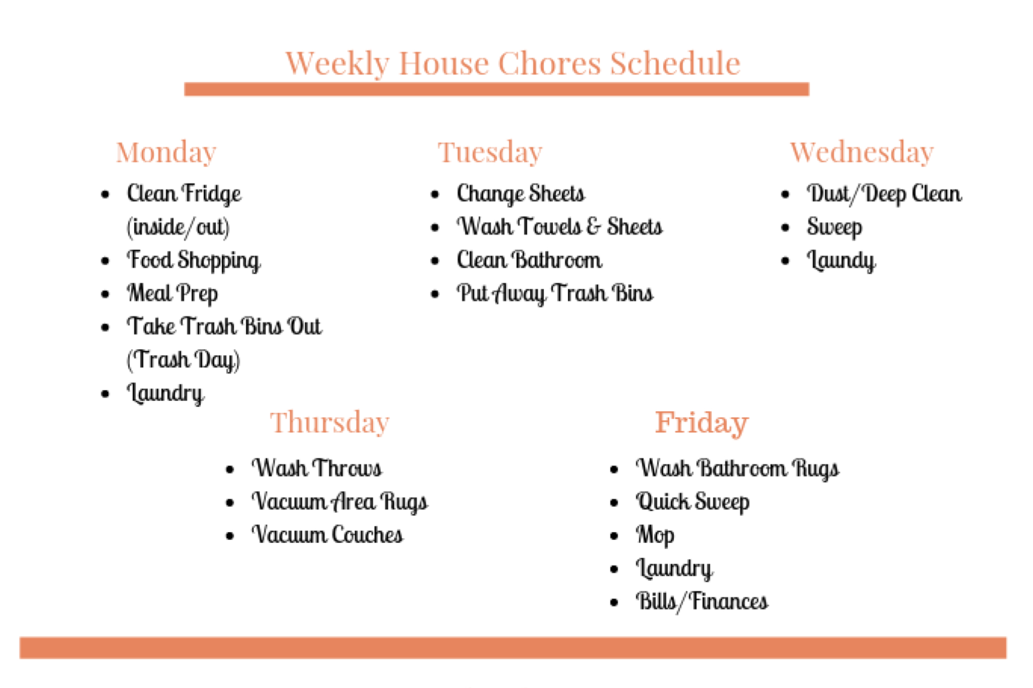 weekly house chores schedule